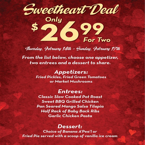 Sweetheart Deal Only $26.99 For Two