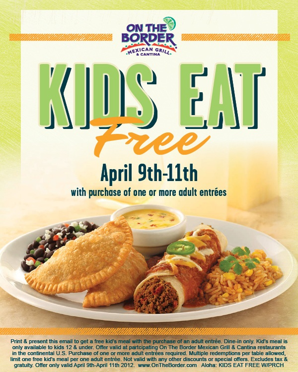 Kids Eat Free, April 2012