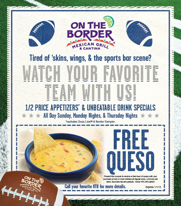 Football ad with Free Queso